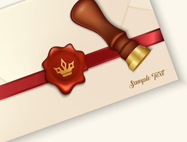 Umschlag und rotes wachssiegel mit wachssiegelstempel Premium Vektoren