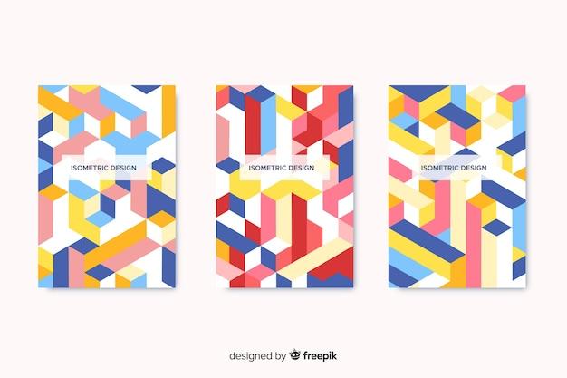 Umschlagsammlung mit geometrischem design Kostenlosen Vektoren