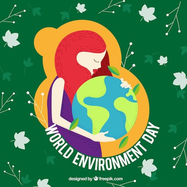 Umwelt tag hintergrund mit frau umarmen die welt Kostenlosen Vektoren