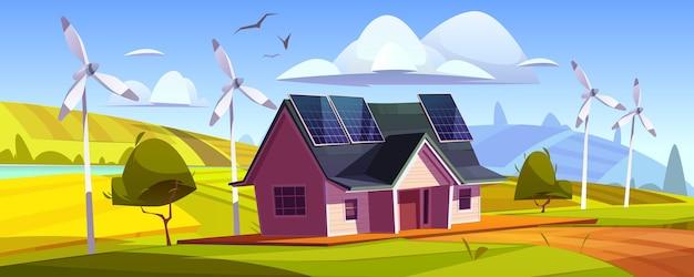 Umweltfreundliche stromerzeugung, grünes energiekonzept. haus mit sonnenkollektoren auf dach und windkraftanlagen. vektorkarikaturlandschaft mit modernem häuschen und windmühlen Kostenlosen Vektoren