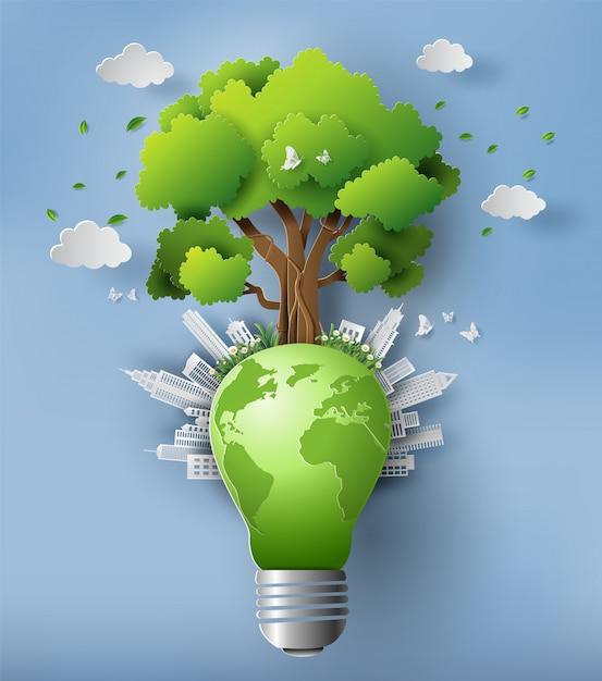 Umweltfreundliches und tag der erde-konzept. Premium Vektoren