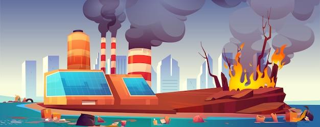 Umweltkatastrophe, luft- und meeresverschmutzung Kostenlosen Vektoren