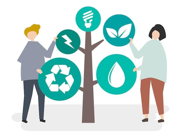 Umweltschutz und schutz unserer welt Kostenlosen Vektoren