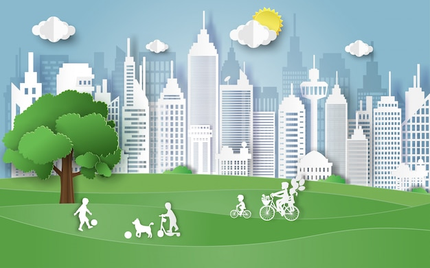 Umwelttagkonzept mit familie auf park. Premium Vektoren