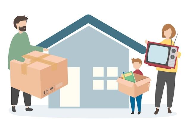 Umzug der familie in ein neues zuhause Kostenlosen Vektoren