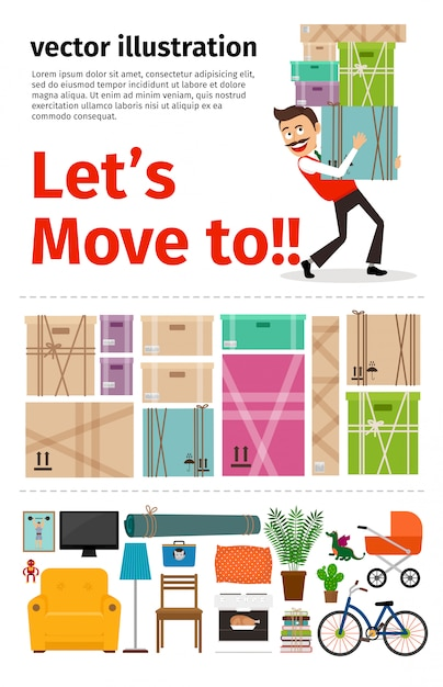 Umzug in neue apartment-infografiken Premium Vektoren