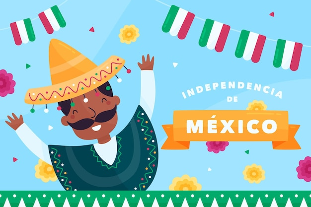 Unabhängiger flacher designhintergrund des mexiko Kostenlosen Vektoren