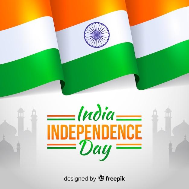 Unabhängigkeitstag der flachen art des indien-hintergrundes Kostenlosen Vektoren