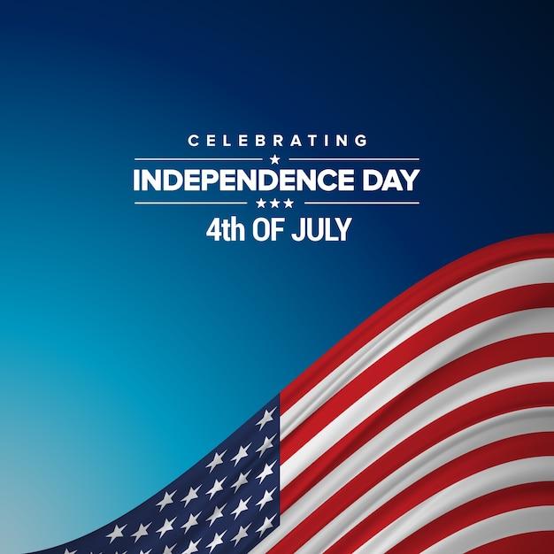 Unabhängigkeitstag hintergrund und abzeichen logo mit us-flagge Kostenlosen Vektoren