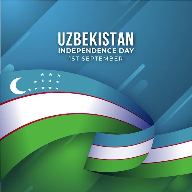 Unabhängigkeitstag og usbekistan wachsartige flagge Premium Vektoren