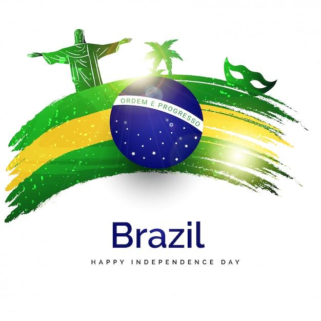 Unabhängigkeitstag von brasilien-plakat- oder -fahnendesign. Premium Vektoren