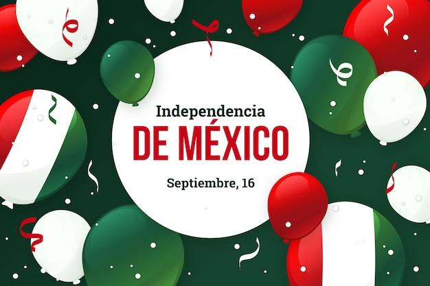 Unabhängigkeitstag von mexiko hintergrund mit luftballons Kostenlosen Vektoren
