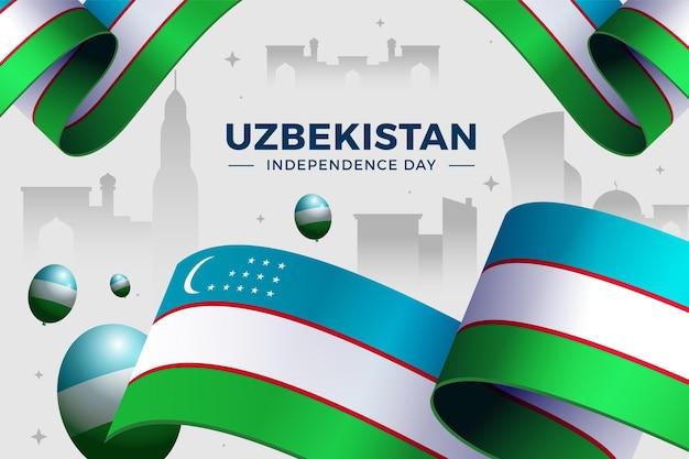 Unabhängigkeitstag von usbekistan mit flagge Kostenlosen Vektoren