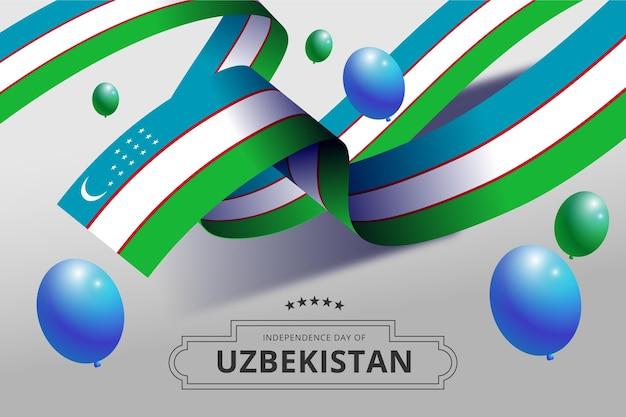 Unabhängigkeitstag von usbekistan mit luftballons Kostenlosen Vektoren