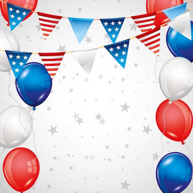 Unabhängigkeitstaghintergrund mit sternen und ballonen im blauen rot Premium Vektoren