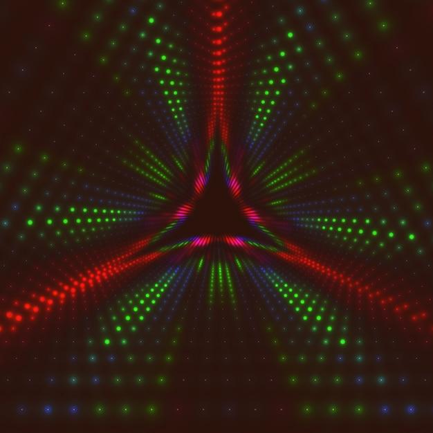 Unendlicher dreieckiger tunnel aus leuchtenden fackeln Kostenlosen Vektoren