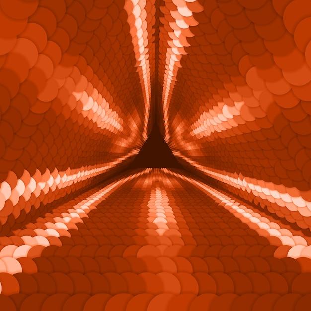 Unendlicher dreieckiger tunnel des vektors der bunten kreise auf dunkelrotem hintergrund. kugeln bilden tunnelsektoren. abstrakter cyber bunter hintergrund für ihre entwürfe. elegante moderne geometrische tapete. Kostenlosen Vektoren