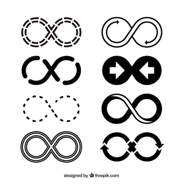 Unendliches symbol in der schwarzen farbsammlung Kostenlosen Vektoren