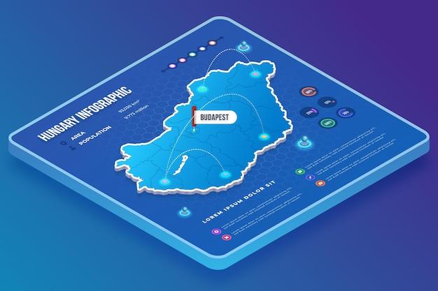 Ungarische karteninfografiken im isometrischen stil Kostenlosen Vektoren