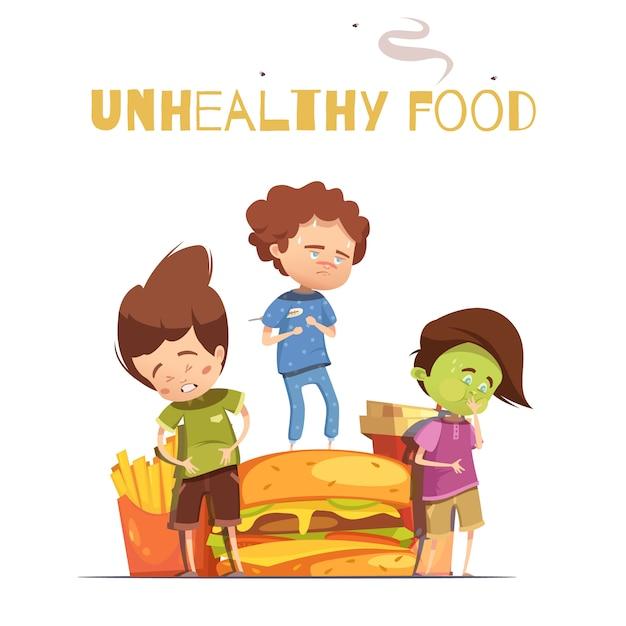 Ungesunde schädliche effekte der ungesunder fertigkost, die retro karikaturplakat mit dem hamburger und krankem schauendem chi warnen Kostenlosen Vektoren