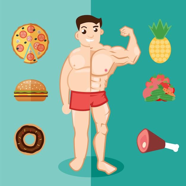 Ungesunder lebensstil, dicker mann, fettleibigkeit Premium Vektoren