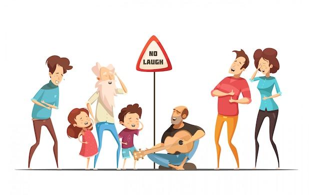 Unglaublich witzig lustige familienlebenmomente mit komischer situation der retro- karikatur des singens und des lachens der freunde Kostenlosen Vektoren
