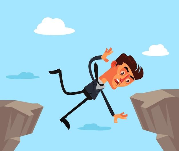 Unglücklicher geschäftsmann büroangestellter charakter springen und fallen. Premium Vektoren