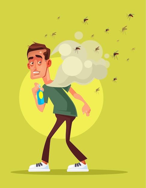 Unheimlich ängstlicher mann kämpfen mit insekt durch sprühkarikaturillustration Premium Vektoren