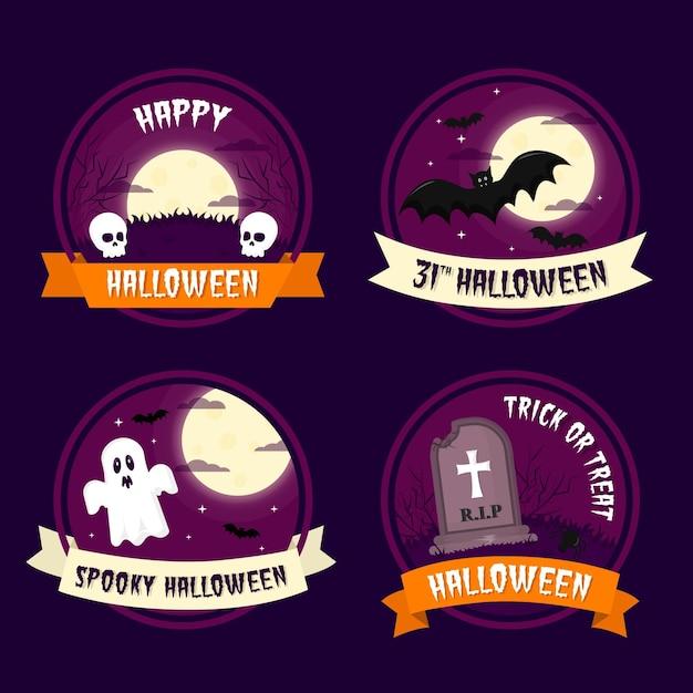 Unheimliche halloween-abzeichen des flachen entwurfs Kostenlosen Vektoren