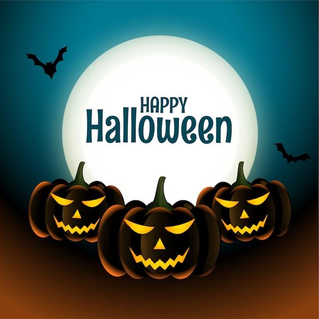 Unheimliche kürbiskarte der glücklichen halloween mit mond und fledermäusen Kostenlosen Vektoren