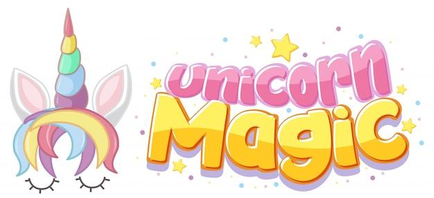 Unicorn magic logo in pastellfarbe mit niedlichen einhorn- und sternkonfetti Premium Vektoren