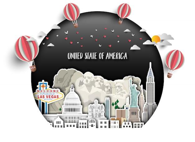 United states of america wahrzeichen global travel and journey Premium Vektoren