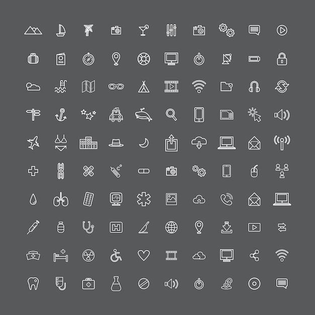 Universal-ikonen-konzept der illustrations-ui Kostenlosen Vektoren