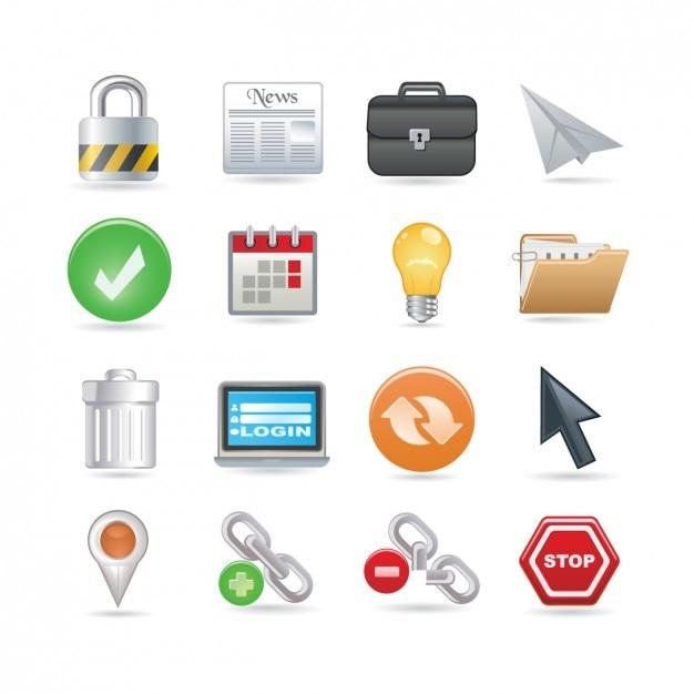Universal web icon set Kostenlosen Vektoren