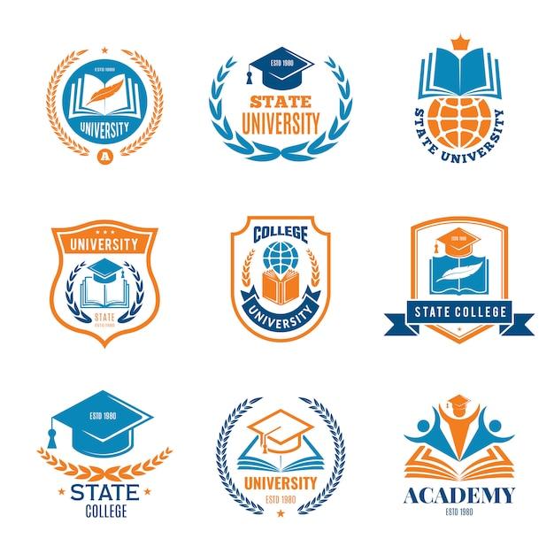 Universitätsabzeichen. emblem college-logo der schulgeschäftsidentitätsqualität Premium Vektoren