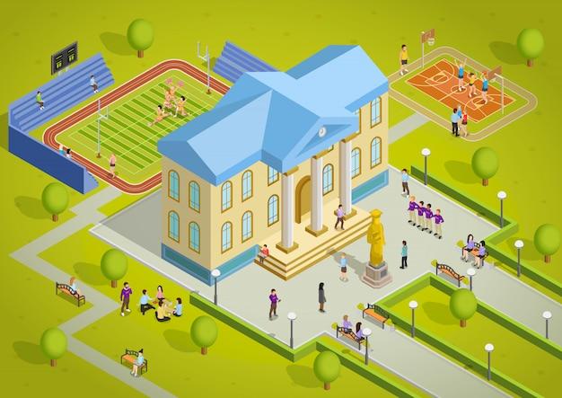 Universitätskomplex-gebäude-isometrisches ansicht-plakat Kostenlosen Vektoren