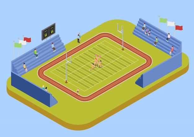 Universitätssport-komplex-stadion-isometrische illustration Kostenlosen Vektoren