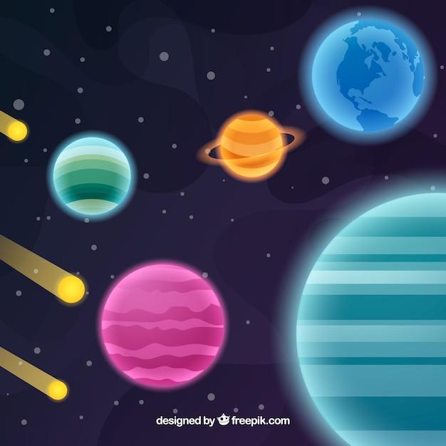 Universum hintergrund mit planeten und meteoriten Kostenlosen Vektoren