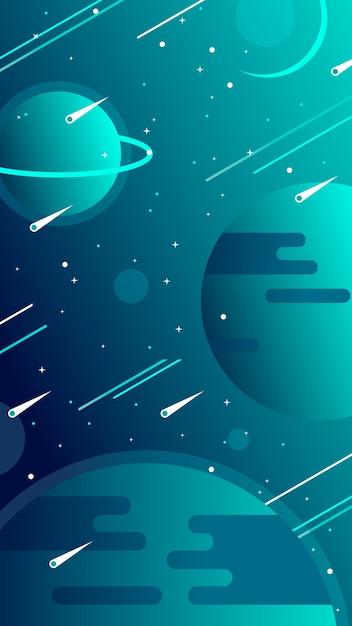 Universum mobile wallpaper mit planeten Kostenlosen Vektoren