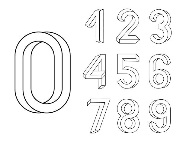 Unmögliche formschrift. zahlensatz, der auf der grundlage der isometrischen ansicht erstellt wurde. Premium Vektoren