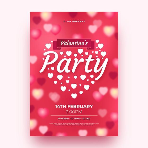 Unscharfe valentinstagspartyplakatschablone Premium Vektoren