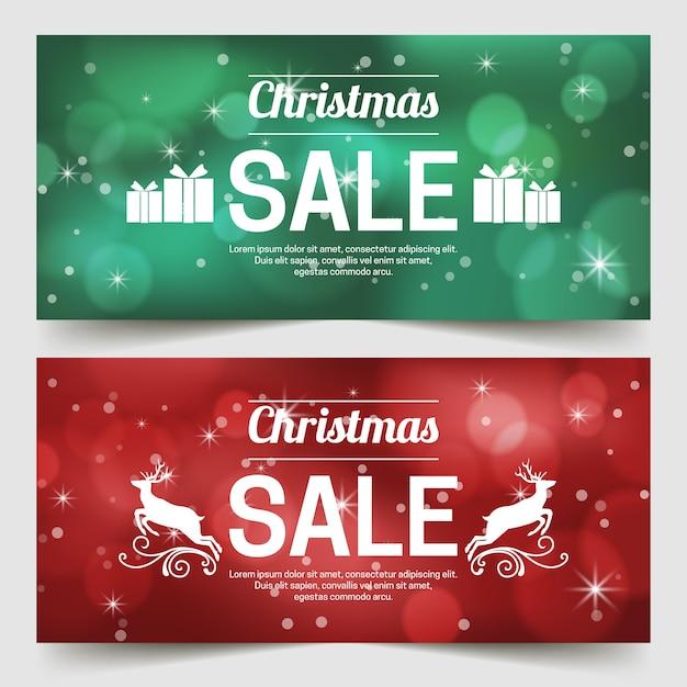 Unscharfe weihnachtsverkaufsfahnen eingestellt Kostenlosen Vektoren