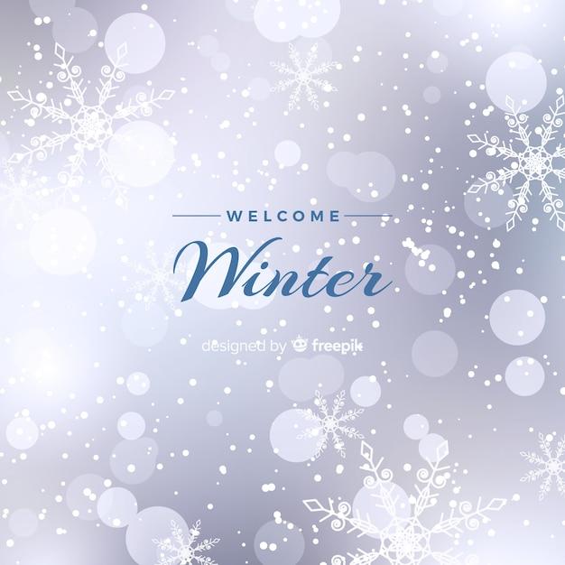 Unscharfer winterhintergrund Kostenlosen Vektoren