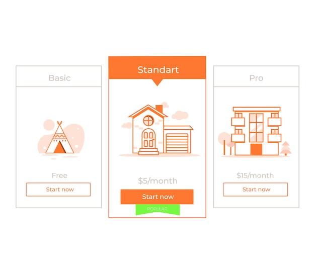 Unser preisplan drei verschiedene kategorien von geldpreisen. wahlprämie. Kostenlosen Vektoren