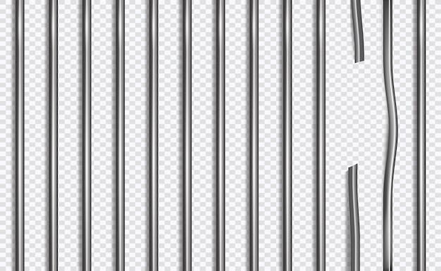 Unterbrochenes gefängnisgitter oder -stangen in der art 3d auf getrenntem hintergrund Premium Vektoren