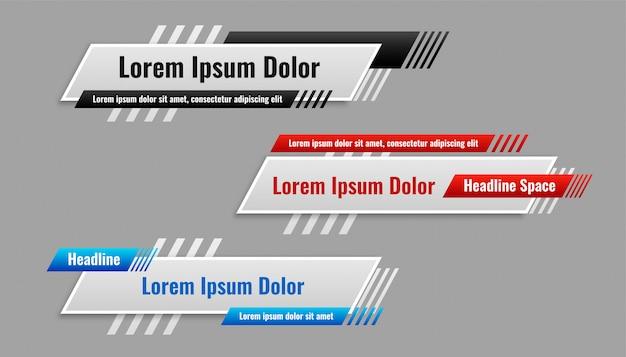 Untere dritte banner-vorlage in verschiedenen stilen Kostenlosen Vektoren