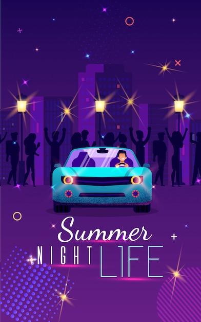 Unterhaltsames plakat-aufschrift-sommer-nachtleben Premium Vektoren