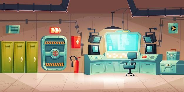 Unterirdischer bunkerinnenraum, luftschutzbunker Kostenlosen Vektoren