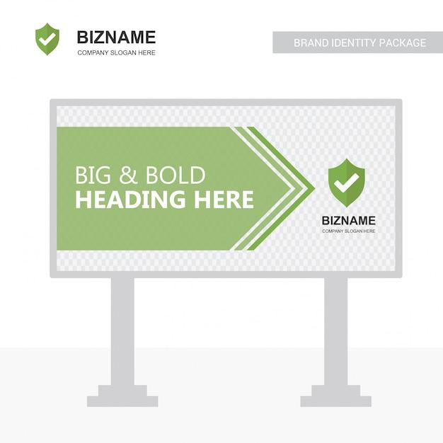 Unternehmen bill board design vektor mit sheild logo Premium Vektoren