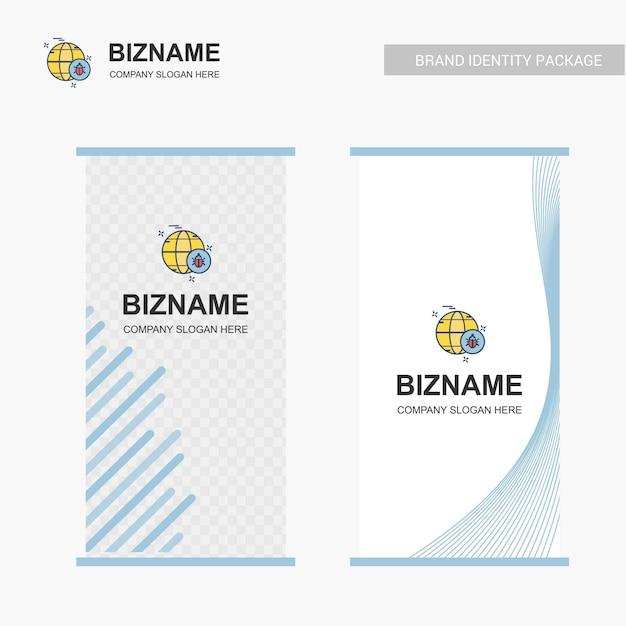 Unternehmens-anschlagbrettdesign mit wanzenlogovektor Premium Vektoren